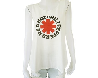 RHCP Red Hot Chili Peppers Logo Printed Funk Metal Rock Band Lady Women's Singlet Tank Top Vest Blouse Shirt Tee T-Shirt White S M L