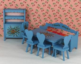 Doll house vintage Lundby dining room 1970s furniture wood blue Scandinavian