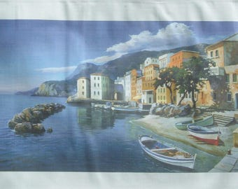 print on canvas measuring 40 x 77 cm Ligurian seaside village more edge. No frame