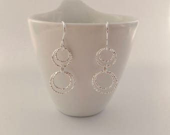 Circle earrings, gift for girlfriend, sister, aunt, best friend, Mothers Day, sparkly earrings, Sterling silver earrings, gift for her