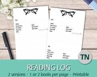 TN Regular - EN - Book review, Reading Journal, Reading Log, Book Tracker - Book Planner - Printable Planner Insert, Traveler's Notebook PDF