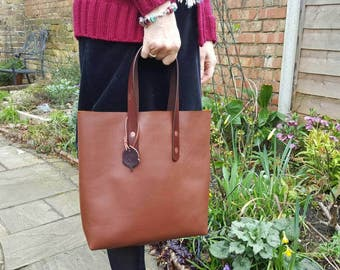 Tote Bag Chestnut Calf Leather Raw Top Carrier Style Handles Handmade in UK E46