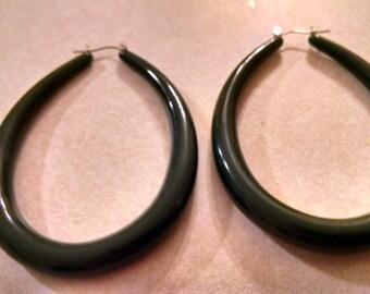"""Dark Green Big Hoop Earrings,Gifts Under 15.00,Sale,Gifts, Her,Big Hoop Earrings,Vintage Hoop Earrings, 3"""" Drop Earrings,Jewelry, Excellent"""