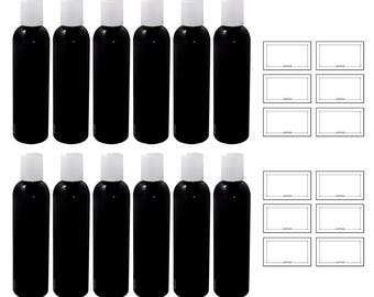 Black 4 oz Slim Cosmo Round PET Plastic Bottle with White Disc Cap (12 pack)+ Labels ***FREE SHIPPING***