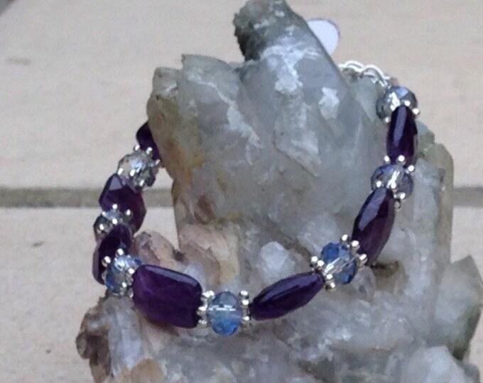 Amethys bracelet, amethyst & Swarovski crystal bracelet, amethyst crystal bracelet, amethyst jewellery, amethyst beads