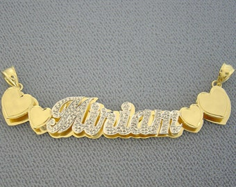 Real 2 Tone Gold Double Nameplates Personalized Pendant Name Hearts Charm ND41