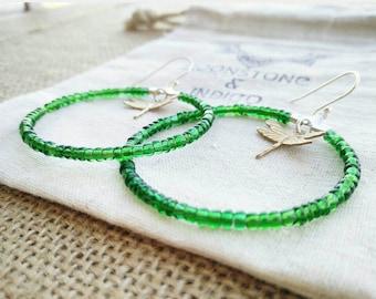 Green Hoop Earrings - Sterling Silver Hoop Earrings - Boho Hoop Earrings - Bird Jewelry - Hoop earrings - Beaded Hoops -  Dragon Fly Earring
