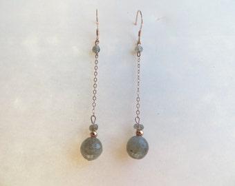 Flashing blue labradorite jewelry rose gold earrings minimalist earrings gemstone jewelry gift everyday earrings gift*for*her grey earrings