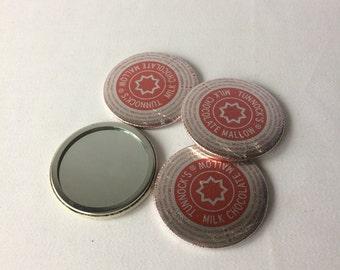 Pocket Mirrors made from Tunnocks Teacake wrapper