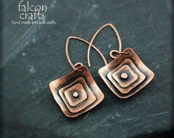 copper jewellery,earrings,boho,dangle,handmade dark recycled copper jewellery,copper,female gift,dark brown,boho copper dangle earrings