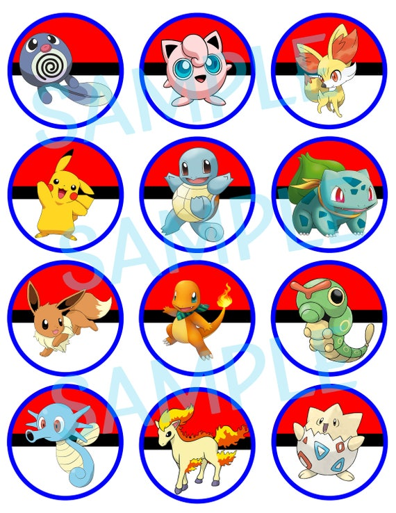 Instant Download Pokemon Inspired Cupcake Toppers Print At