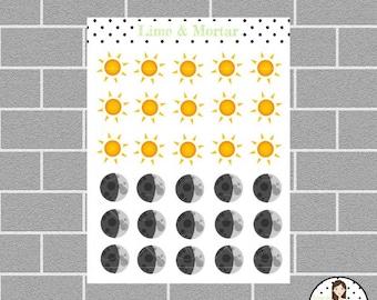 Day/Night Shift Mini Icon Planner stickers