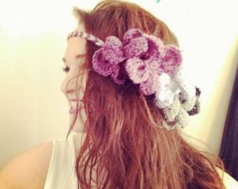 Crochet Purple Ombre Flower Headband