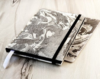 Marble notebook Gift for men Black notebook Marbled journal Marble paper Marbled fabric notebook Black pages Blank journal A5 Notebook blank