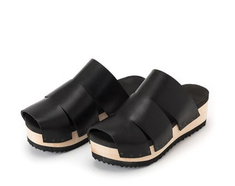 Black leather Peep Toe shoes, Womens Wooden clogs, Trio, Extra comfort footbed padding, TRIO Peep Toe, Free Shipping