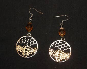Bee and Honeycomb Earrings - Melissa - Honey Magic - Pagan, Wicca, Witchcraft - with sterling silver earwires