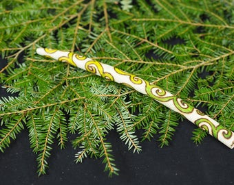 Avalon Hazel Green Spiral Wand - Wisdom - Pagan, Wicca, Witchcraft, Ogham, Folk Magic