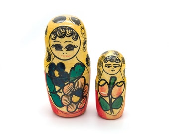 Set of 2 vintage Russian Nesting Dolls. Decoration. Art. Home Decor. Matryoshka. Hidden Dolls. Babushka nesting dolls. Russian Folk Art.