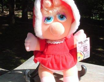 "ZERO SHIPPING! Vintage 1988 10 1/2"" Baby Miss Piggy - McDonald's Christmas Promotional Plush"