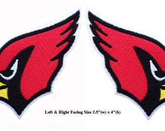 Arizona Cardinals Left Right Facing Embroidered Iron 2 Patches.