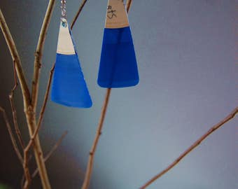 Blue vinyl record earrings - upcycled