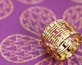 14k/18k Solid Gold Personalized Ring with Chinese Double Happiness motifs, Wedding Ring, Custom Jewelry, 婚戒, 18K黃金雙喜戒指