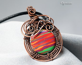 Wire wrapped jewelry, Rainbow Calsilica pendant, copper wire pendant, girlfriend gift, wirewrap necklace, gemstone jewelry, red jewellery