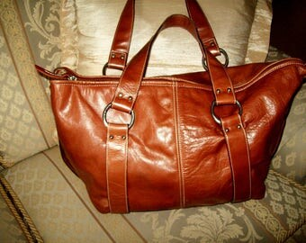 Large Italian genuine leather handbag GIANNI CHIARINI