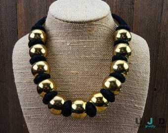 Choker, Gold Necklace, Gold Jewelry, Brass Beads, Brass Necklace,Hipster Jewelry, Bohemian,Statement Necklace, Boho Chic,Gold Beads,Hipster