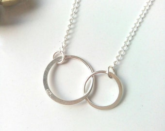 Silver Circle Necklace, Interlocking Circle Necklace, Geometric Necklace, Infinity Necklace, Sterling Silver Necklace, Minimalist Jewelry