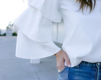 Barbot RUFFLE SLEEVE TOP - Made to Order - White ruffled bluse, Ruffles Shirt Ruffle top Trending Clothes