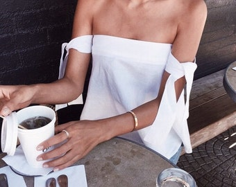 KATE OFF SHOULDER White Top - Black Top with bare shoulder wrapped w/ adjustable ties -Made to Order- Minimalistic Fashion Trending clothing