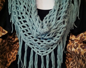 Handmade Crochet Fringe Scarf Boho/Gypsy/Western
