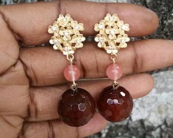Brown agate cherry quartz gold plated flower cz drop dangle earrings