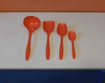 Orange Serving Spoons from Rosti of Denmark - 4 piece melamine serving set- Vintage plastic