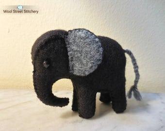 Small handmade felt elephant, stuffed elephant, zoo animal, elephant gift, soft toy, felt stuffed animal