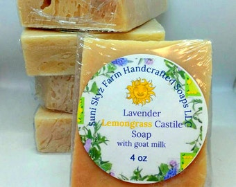 Lavender Lemongrass Castile Goat Milk Soap - Lavender Soap - Olive Oil Soap -Lemongrass Soap - Castile Goat Milk Soap - Castile Soap
