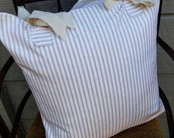 Farmhouse Ticking Pillow Cover  in tan and white - 20 x 20 inch