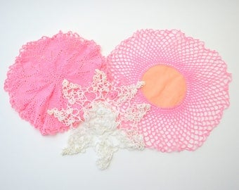 Set of Three Vintage Doilies, Pink and White Hand Made Crocheted Doilies, Shabby Chic, circa 1960s