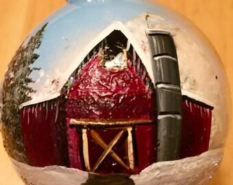 Hand painted Glass Ornament - Winter Barn Scene