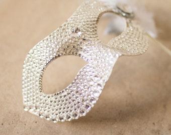 Crystal Swarovski Encrusted Mardi Gras/Masquerade Mask, Silver tipped feathers
