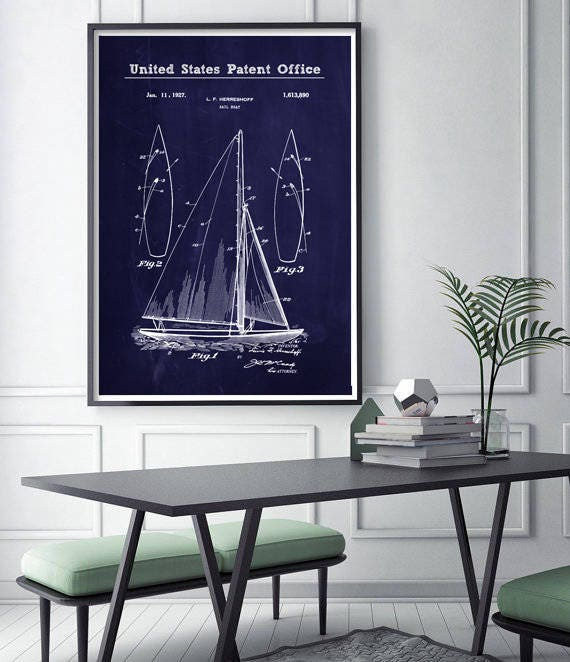 Sail boat patent print nautical blueprint nautical wall art sail boat patent print nautical blueprint nautical wall art nautical decor patent art blueprint art nautical home decor malvernweather Gallery