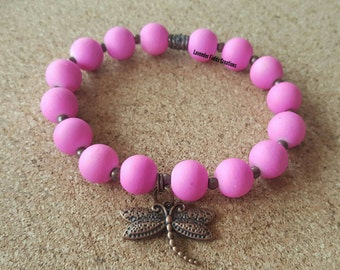 Pink Rubberized Glass Bead Stretch Bracelet with Bronze Accents and Dragonfly Charm (201744B)