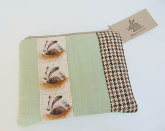 Handmade Badger Makeup Bag, Wrendale Designs Fabric, British Woodland Animals and Tweed Pouch