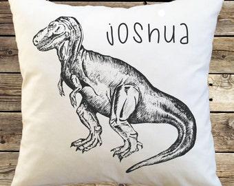 Personalized Tyrannosaurus Dinosaur Pillow Cover; Custom Pillowcase; vintage hand drawn; dinosaur sketch; retro; throw pillow; accent pillow