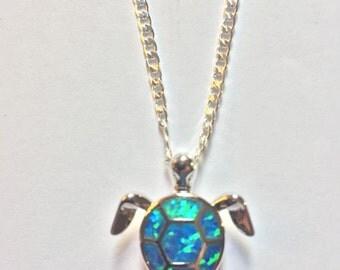 Blue Fire Opal Turtle Pendant Necklace