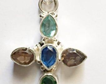Citrine, Aquamarine And Emerald Cross Pendant Necklace