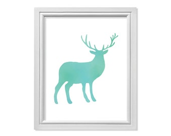 Blue Antler Deer Print, Deer Art, Blue Buck Wall Art, Antler Art, Reindeer Print, Blue Reindeer Wall Decor, Blue Christmas Poster