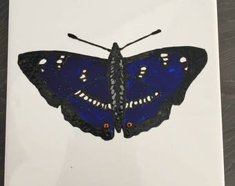 Ceramic Tile Painting, Original. Purple emperor butterfly bug creepie crawley insect plaque