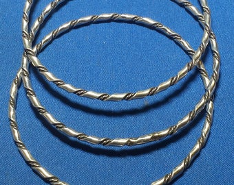 Set of 3 Matching Sterling Silver Vintage Bangle Bracelets